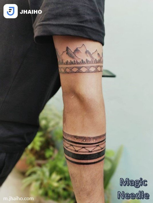 Mountain armband tattoo