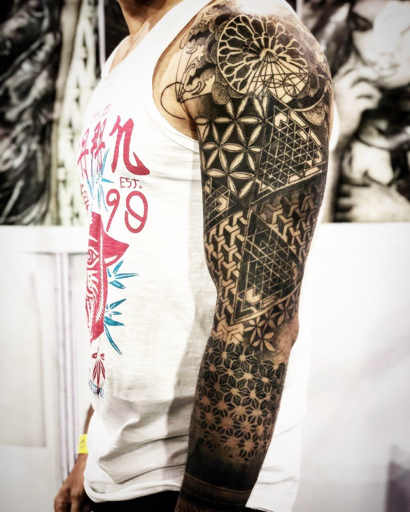 Tribal tattoo using south Asian designs