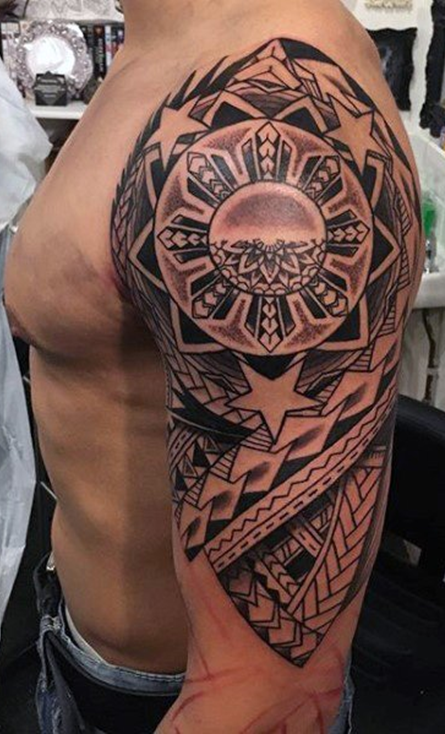 Filipino sun tribal tattoo