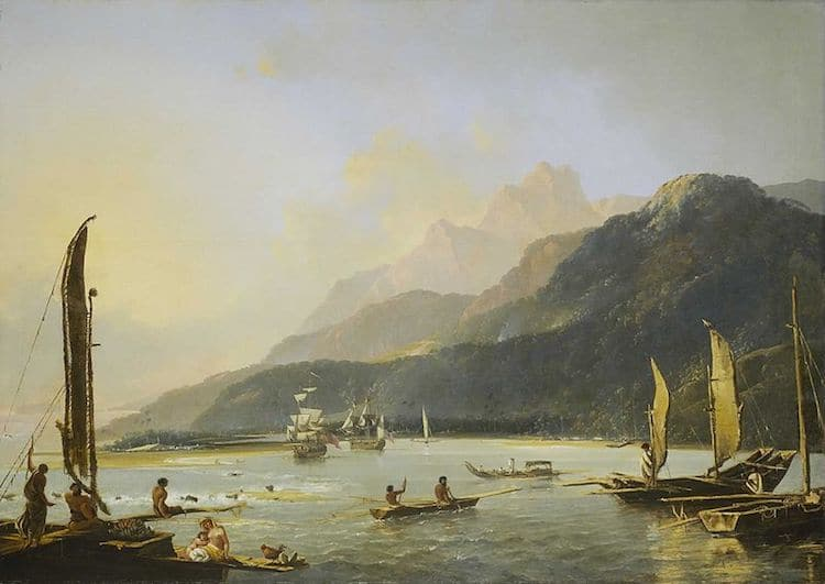James Cook and his crew approaching Tahiti