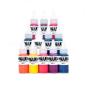 A wide range of colour tattoo inks from Dynamic