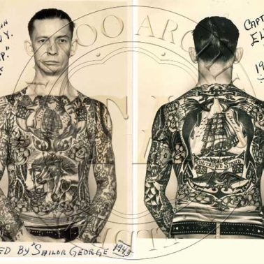 Nautical tattoos were an eclectic mix of all the places a sailor had voyaged to