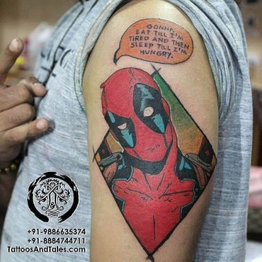 A colourful cartoon-style tattoo of Marvel's Deadpool by Tattoos and Tales