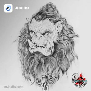 A realism sketch of a member of the Frostwolf Clan from the game World of Warcraft by Aatman Tattoos
