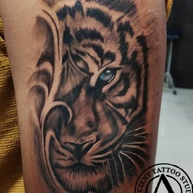 A hyper-realism tattoo of a tiger by Ancient Tattoos