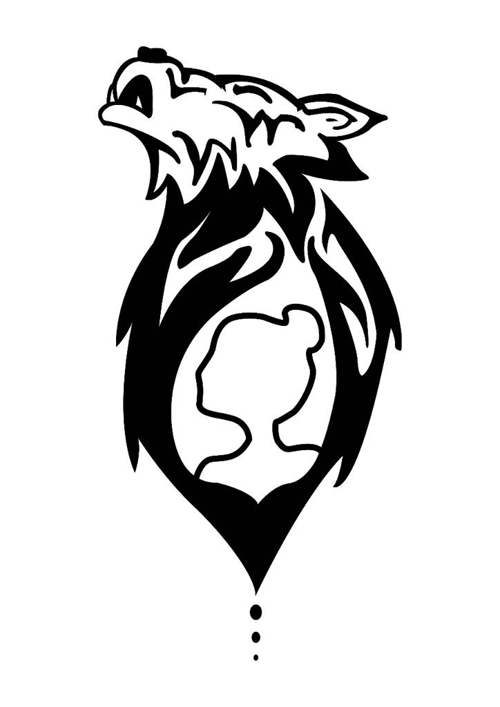 A black and white stencil of a tattoo with a wolf howling at the moon featuring the silhouette of a girl within the wolf