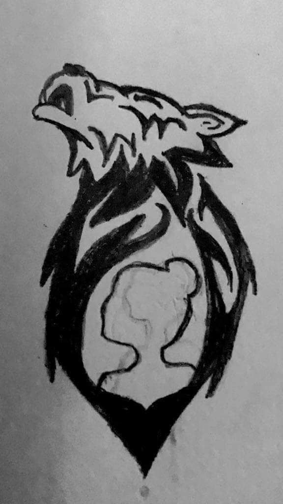 A black and white sketch of Anya's personal design for her tattoo, featuring a howling wolf around the silhouette of a girl