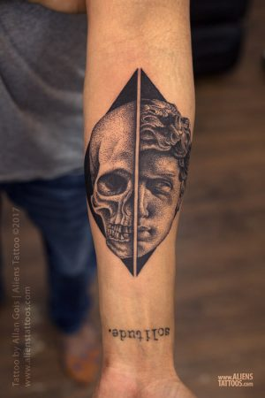An abstract dotwork tattoo of David and Goliath by tattoo artist Allan Gois of Aliens Tattoos