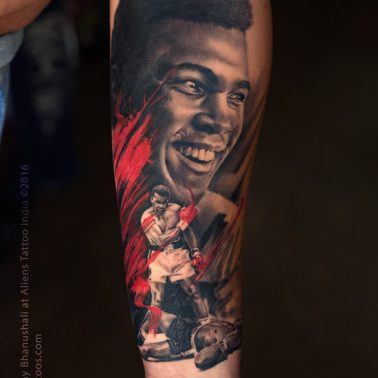 A realism portrait tattoo of Mohammed Ali by Sunny Bhanushali of Aliens Tattoos