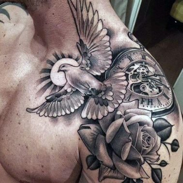 A Chicano tattoo of a dove