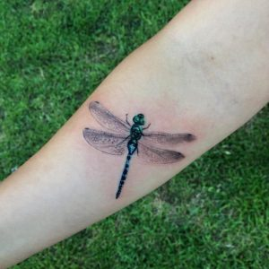A realism tattoo of a dragonfly