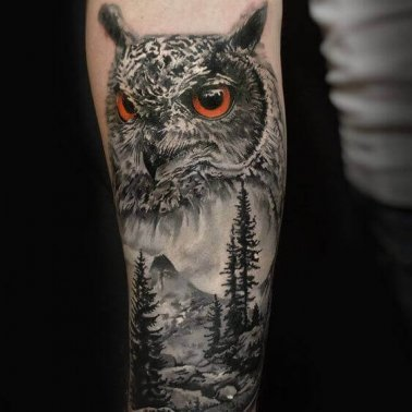 Realistic Owl Forest Tattoo