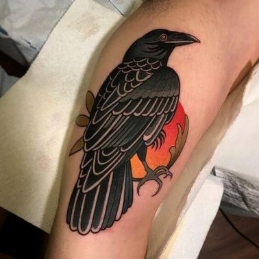 An old-school tattoo of a raven