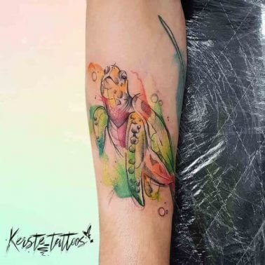 A watercolour tattoo of a turtle