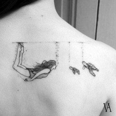 A linework tattoo of a girl swimming with turtles