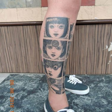 A tattoo of panels from the Japanese horror manga Uzumaki (Junji Ito) by Ganesh of Kraayonz Tattoos