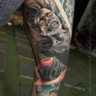 A comic-style portrait of Ryuk from Death Note by tattoo artist Sameer Patange of Kraayonz Tattoos