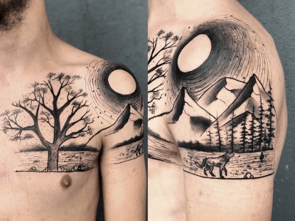 A chest to shoulder blackwork tattoo of a landscape by Sculp Tattoo Studio