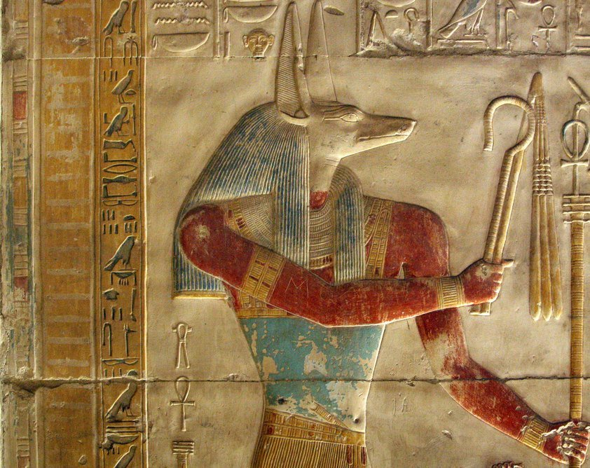 A wall marking depicting Wepwawet, an Egyptian war deity, whose name means 'opener of the ways', and whose appearance is that of a human body with a wolf head