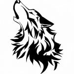 An image of a tattoo stencil of a wolf howling at the moon