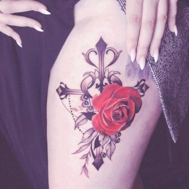 Ornamental Cross Rose Tattoo
