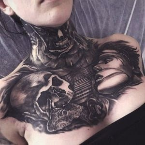 Abstract Neck Lady Skull Tattoo