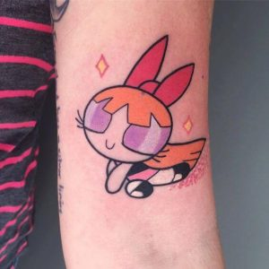 A new school cartoon tattoo of the character Blossom