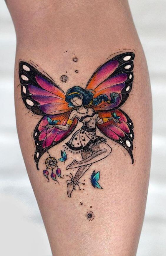 A colour tattoo featuring an illustration of a fairy girl