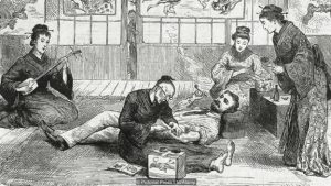 A drawing of a traditional tattooing session depicting a rich British man smoking as he gets tattooed by a Japanese tattooist