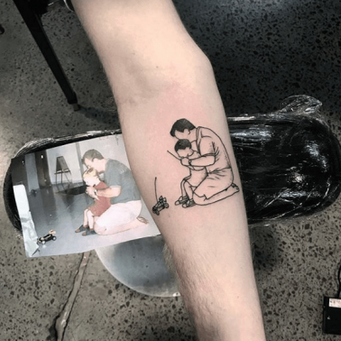 A dedication tattoo using a photograph