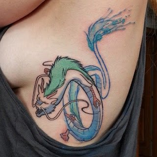 A new-school style tattoo of a Japanese dragon done along the ribs