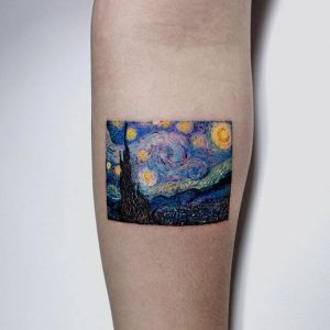 Van Gogh's 'Starry Night' in a watercolour tattoo from Mischief Tattoo NYC