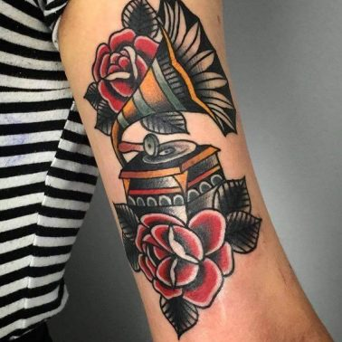 A traditional style tattoo of an antique gramophone