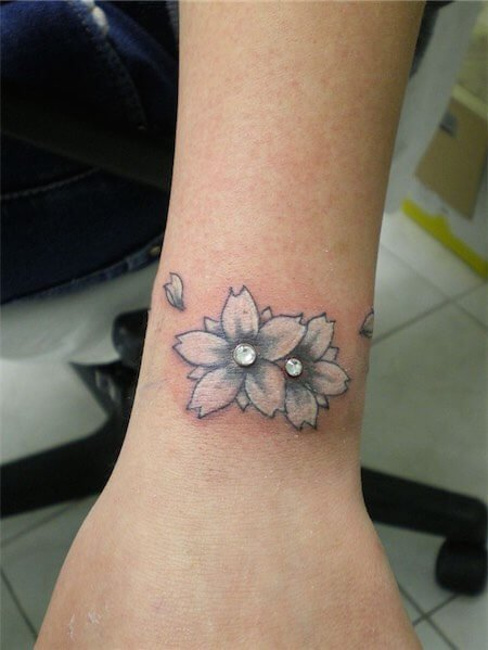 Girls wrist tattoo with piercings