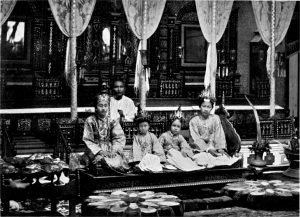 A traditional ceremony for ear-boring held in Burma