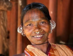 Khond woman with ear, septum and nostril piercings