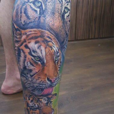 Tiger Leg Tattoo