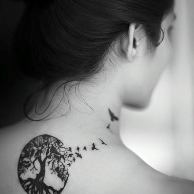 Side Neck Tree Birds Tattoo