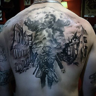 A blackwork realism tattoo of a soldier on field wearing a gas mask