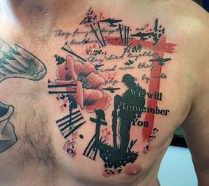 A trash polka tattoo in honour of soldiers who have died in battle