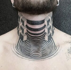 A 3D illusion tattoo on the neck and chest