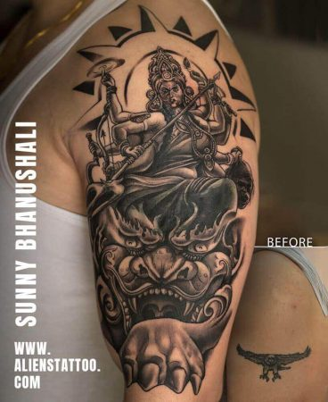 A large half-sleeve religious coverup tattoo featuring goddess Kali