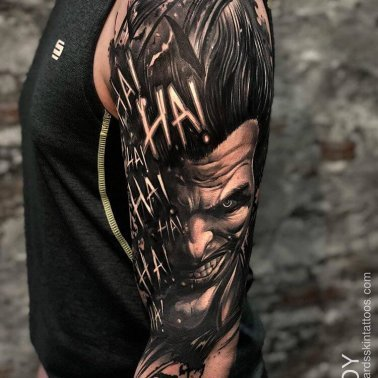 Half Sleeve Joker Script Tattoo