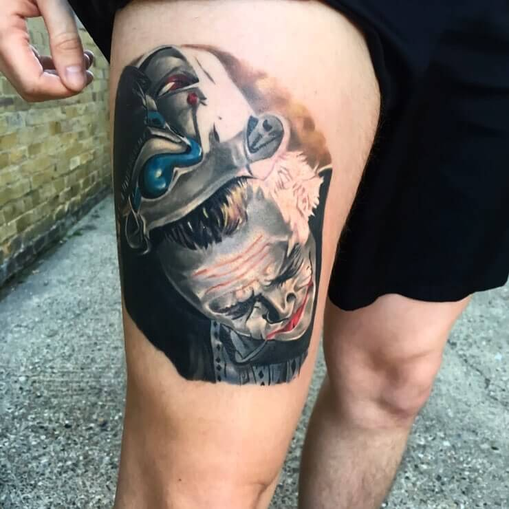 Surrealistic Joker Thigh Tattoo