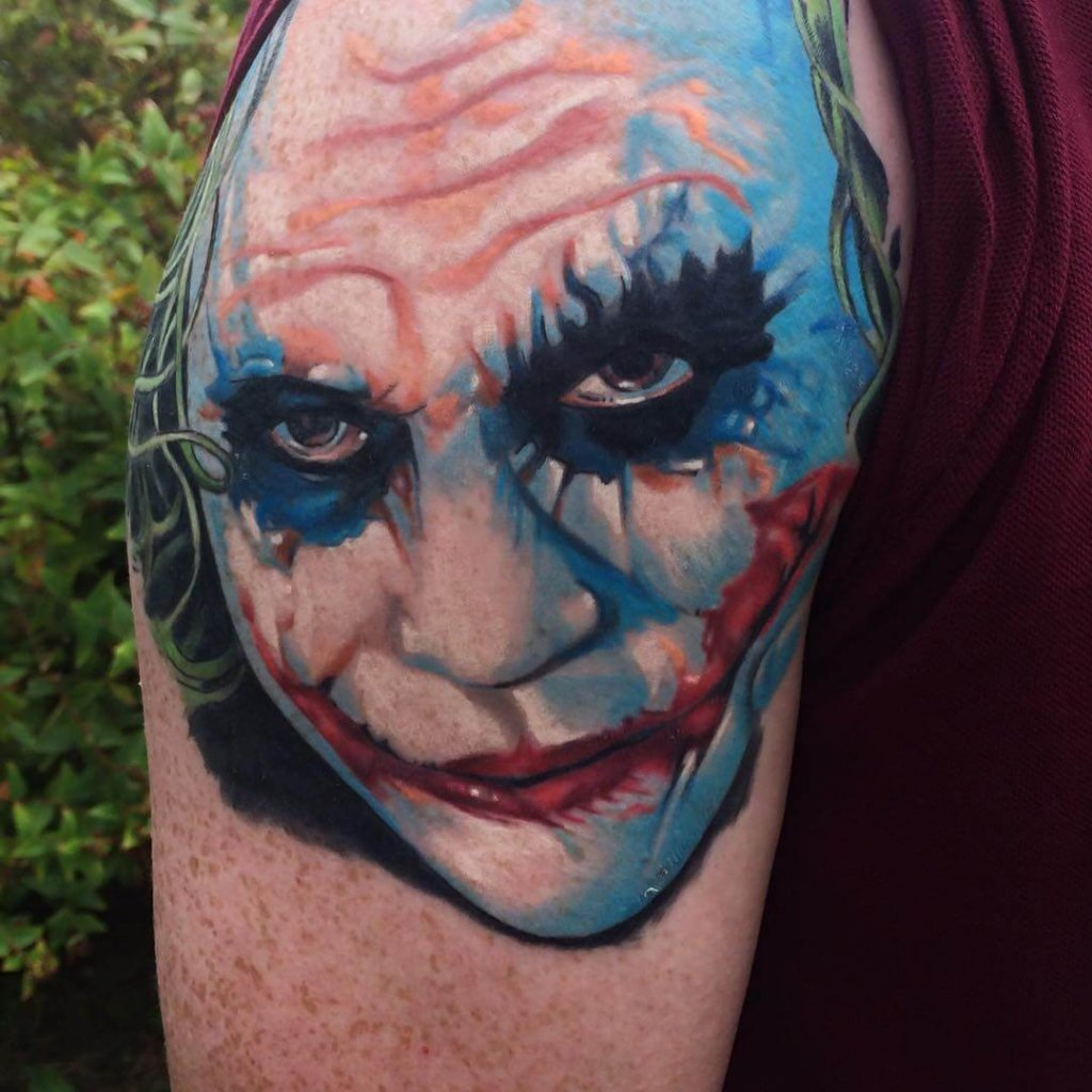 Colour Shoulder Joker Tattoo