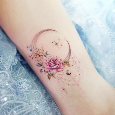 Ornamental Floral Crescent Moon Tattoo