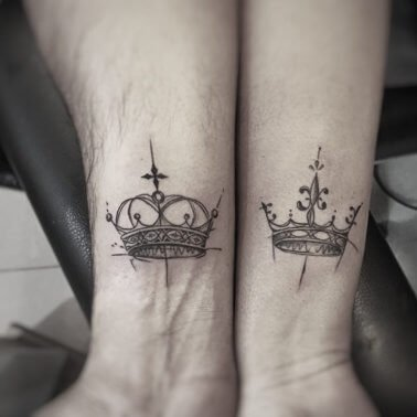 King and Queen Crown Couple Tattoo