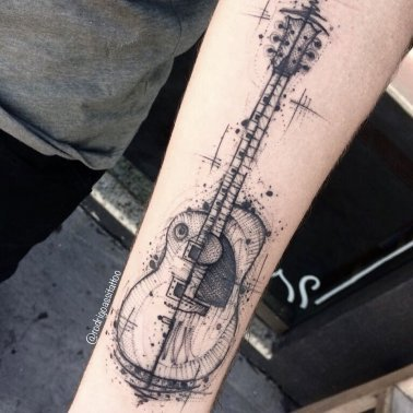 Abstract Guitar Tattoo Image