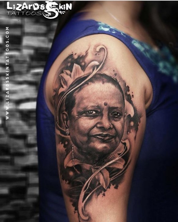 Realistic Floral Potrait Mom Tattoo