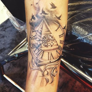 Abstract Pyramid Clock Tattoo